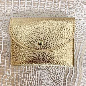 Kirby & Co. Cracked Leather Gold Mini Wallet
